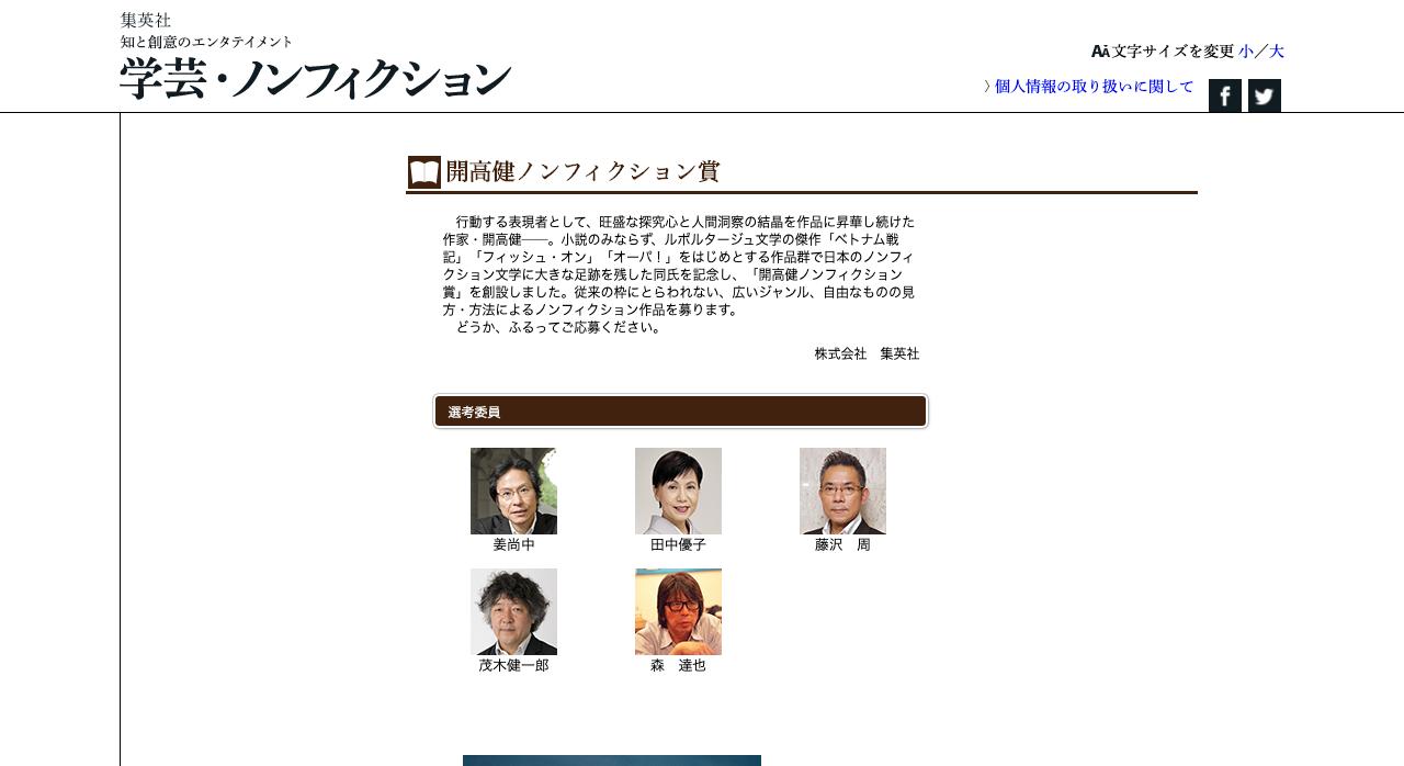 第19回 開高健ノンフィクション賞【2021年2月28日締切】